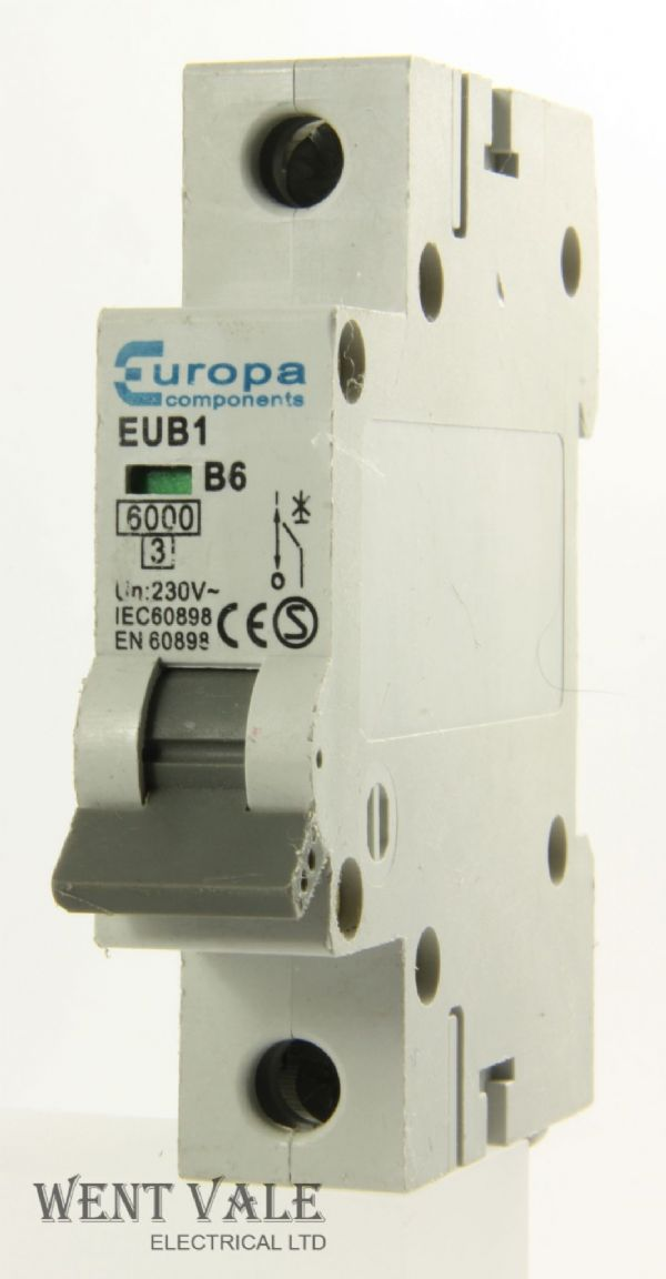 Europa Components - EUB1 - 6a Type B Single Pole MCB Used